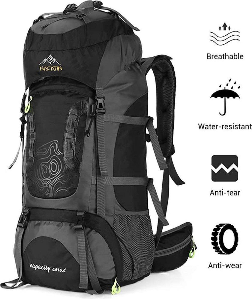Nacatin Backpack - Waterafstotend - Inclusief regenhoes - Outdoor Wandel Rugzak - 70 Liter - Zwart/G
