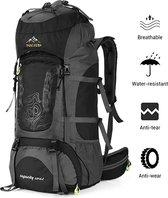 Nacatin Backpack - Waterafstotend - Inclusief regenhoes - Outdoor Wandel Rugzak - 70 Liter - Zwart/Grijs