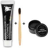 Houtskool Tandpasta 105g -1xBamboe Tandenborstel + Inclusief  GRATIS CHARCOAL Powder/ Houtskoolpoeder GRATIS -  BAMBOO Charcoal Toothpaste - Tandpasta - Tandenbleekpoeder -Voor Wittere Tanden - Tanden Bleken - Bamboo Toothbrushes