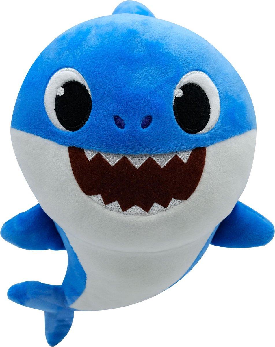 Baby Papa Shark Blauw Pluche Knuffel 30 cm + Geluid met Baby Shark liedje | Originele Baby Father Shark Pinkfong Plush | Daddy Shark |Incl. Batterijen