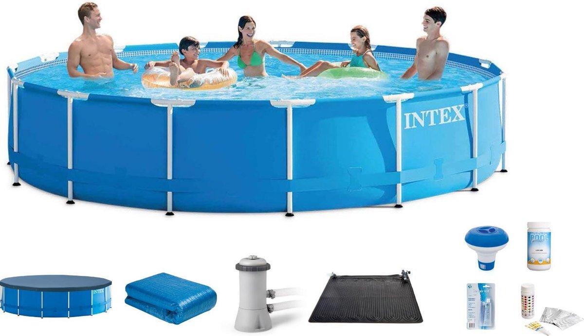 Intex Opzetzwembad - Metal Frame Pool - 457 x 84 cm - Rond - Filterpomp - Afdekzeil - Grondzeil