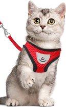 Kattentuigje - Kattenharnas - Kattentuig Met Looplijn - Hondentuigje - Hondenharnas - Rood - Maat S