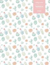 College Ruled Notes 110 Pages: Cactus Floral Notebook for Professionals and Students, Teachers and Writers - Light Pastel Watercolor Cactus Pattern