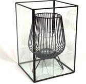 Terrarium rechthoekig -  18 x 18 x 27 - glas - wonen - woonaccessoires - schalen - stolp - decoratie