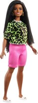 Barbie Fashionistas Doll - Neon Leopard  Shirt/ Pink Bike Shorts
