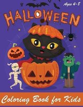 Halloween Coloring Book: Halloween Coloring Book for Kids - Halloween Designs Including Witches, Ghosts, Pumpkins, Haunted Houses, and More - B
