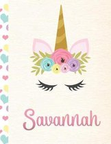 Savannah: Personalized Unicorn Primary Handwriting Notebook For Girls With Pink Name - Dotted Midline Handwriting Practice Paper