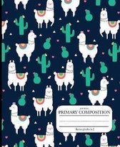 Primary Composition journal llama grades k-2: Primary Composition Half Page Lined Paper with Drawing Space Draw and Write Journal Grades K-2