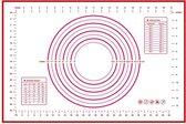 Bakmat Siliconen Deegmat - Hittebestendig en Herbruikbaar Bakpapier - Anti Kleef & Anti Aanbak - Ovenmat 60x40cm met Maataanduidingen - Rood- hittebestandig-bakken-