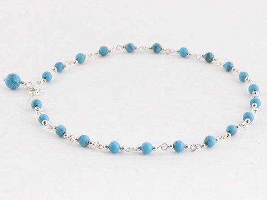 Fijne zilveren enkelband met blauwe turkoois