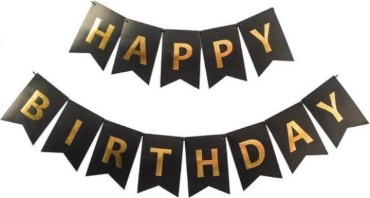 Happy Birthday Slinger Feestversiering Zwart & Goud Decoratie