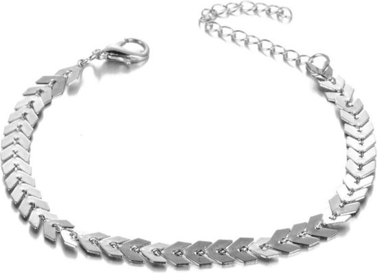 Silver Leaf Enkelbandje - Zomer Enkelband - Zilver - 25 cm - 1 stuks