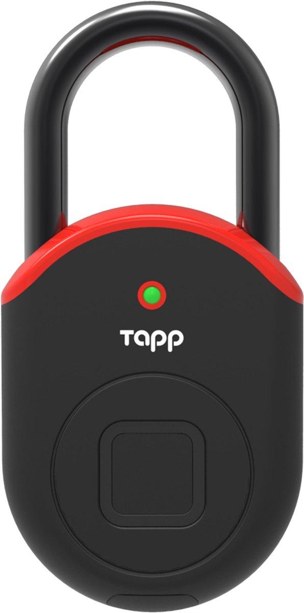 Tapplock Lite, Red. Premium en meest geavanceerde hangslot met vingerscan en bluetooth. duurzaam, licht, veilig en beschikt over de geavanceerde en unieke Tapplock vingerscantechnologie