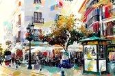 Plein met terras in Spanje, Andalusië, Velez Malaga | abstract, modern, sfeer, stad | Foto schilderij print op Canvas (wanddecoratie) | 120x80cm
