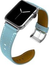 Leren bandje Apple Watch Lichtblauw met zilverkleurige gesp 42mm - 44mm Watchbands-shop.nl