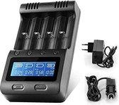 ZNFLR C4 Batterijlader - LCD Scherm - NiMHA, AA, AAA - 18650, 26650, 26500 Etc. - Intelligente Batterij Oplader - Powerbank - 4 Batterijen tegelijk oplaadbaar