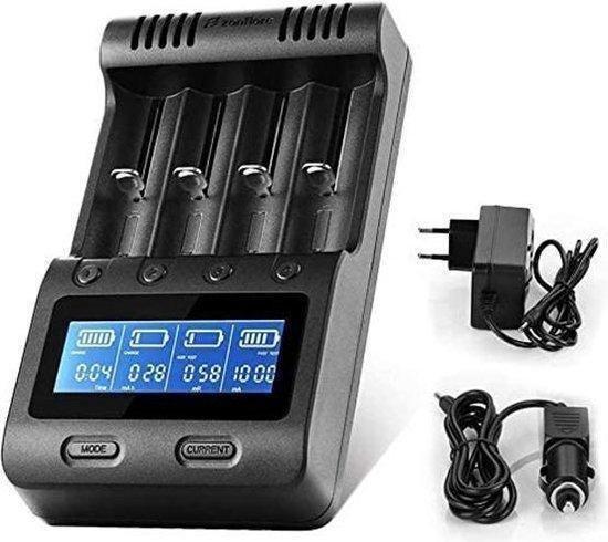 ZNFLR C4 Batterijlader - LCD Scherm - NiMHA, AA, AAA - 18650, 26650, 26500...