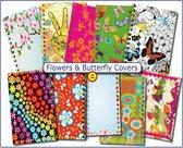 Cover Setje voor Schoolagenda A5 nr.2  FLOWERS & BUTTERFLY