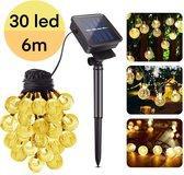 Solar Tuinverlichting – Lichtsnoer op Zonne Energie – 30 LED – 6m – 8 standen – Lichtsnoer – Warm wit – Kristal – Tuinverlichting – Feestverlichting