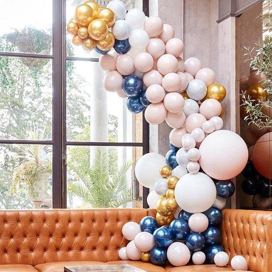 Ballonnenversiering Marmer, Navy & Goud XL - 200 stuks