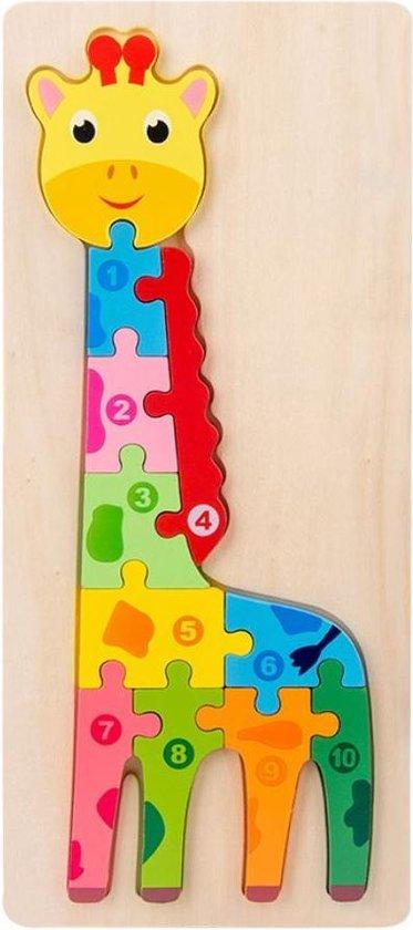 4yourkids - Houten speelgoed 3D puzzel - Giraffe - Blok puzzel - Vroege educatieve ontwikkeling - Jongens en meisjes - Kinderen - 3 jaar - Gift - Cadeau - Sinterklaas - Kerst