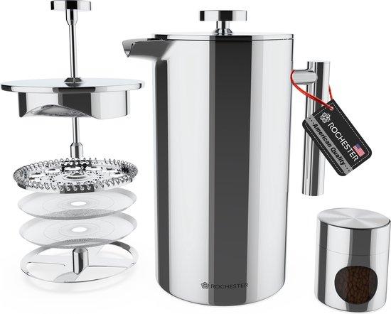 Rochester French Press - Cafetiere met Bonenpotje - Koffiemaker - 1 Liter - Vaatwasserbestendig – Dubbelwandig - RVS