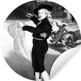 Behangcirkel - Victorine Meurent in het kostuum van een espada - Edouard Monet - zwart wit - ⌀ 140 cm - Muurcirkel
