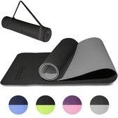 LifeGoods Yoga Mat - Draagriem - Anti Slip - Extra Dik (6 mm) - 61 x 183 x 0,6 cm - Zwart/Grijs