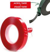 24ME® - 2x Dubbelzijdig Montagetape - Acrylaat Tape & Foam Tape - 1cm x 1mm x 3M  - VHB - Zwart | Transparant