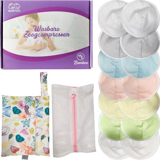 BabyDu® Wasbare Zoogcompressen - Uitwasbare zoogkompressen - Incl. Wasmachine zakje en Opbergzakje - Doorsnede 12cm - 14 stuks - Blauw   Roze