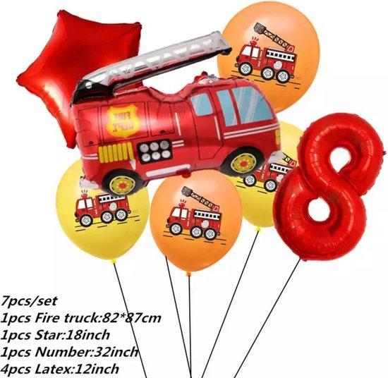 Brandweerwagen Folie ballonen set 7 delig brandweerwagen Nummer 8