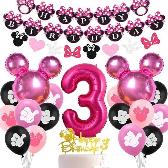 FUFU Minnie thema feestartikelen verjaardagsdecoratie Verjaardagsdecoraties 3 jaar Minnie Mouse, Minnie Decoratie, Feest, 3e verjaardag, voor meisjes, Ballon, nummer 3, decoratie, banner Happy Birthday