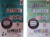 Lightbox letterset -zwart wit en kleur - totaal 180 letters en tekens - 90 zwart wit en 90 kleur - afmeting 65x40 mm