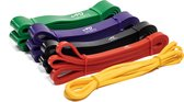 AJ-Sports Weerstandsbanden - Pull up bands - Power bands - Set van 5 banden - 5 verschillende Weerstanden - Fitness elastiek - Pull up Pack Crossfit - Powerlifting banden - Fitness - Workout - Inclusief draagtas