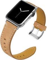 Geschikt voor Apple Watch bandje 42 / 44 / 45 mm - Series 1 2 3 4 5 6 7 SE - Smartwatch iWatch horloge band - 42mm 44mm 45mm - Fungus - Leer - Lichtbruin - Stiksel