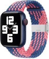 By Qubix - Braided bandje - Roze / Blauw - Geschikt voor Apple Watch 38mm / 40mm / 41mm - Compatible apple watch bandjes
