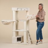 RHRQuality Corner Coon Krabpaal Voor Grote Katten - 60 x 56 x 151 cm - Crème
