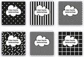 Beterschapskaarten - Set van 6 x gevouwen beterschapskaart - 14 cm x 14 cm - Inclusief envelop