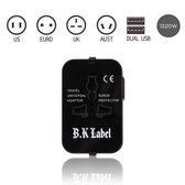 B.K Label Universele Wereldstekker met 2 USB Poorten – Zwart