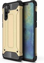 Ntech Huawei P30 Pro Dual layer Armor Hoesje - Goud