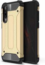 Ntech Huawei P30 Dual layer Armor Hoesje - Goud