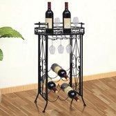 VidaXL Metalen Wijnrek - 77,5 cm hoog - Zwart - Staand - Tafelmodel met haken - 9 flessen
