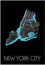 Plattegrond New York City Stadskaart poster DesignClaud - Zwart - A4 + fotolijst wit