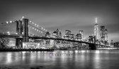 Schilderij - Brooklyn bridge, New York, zwart,wit