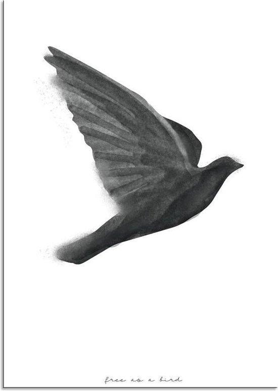 Zwart wit poster Vogel DesignClaud - Free as a bird - A3 poster