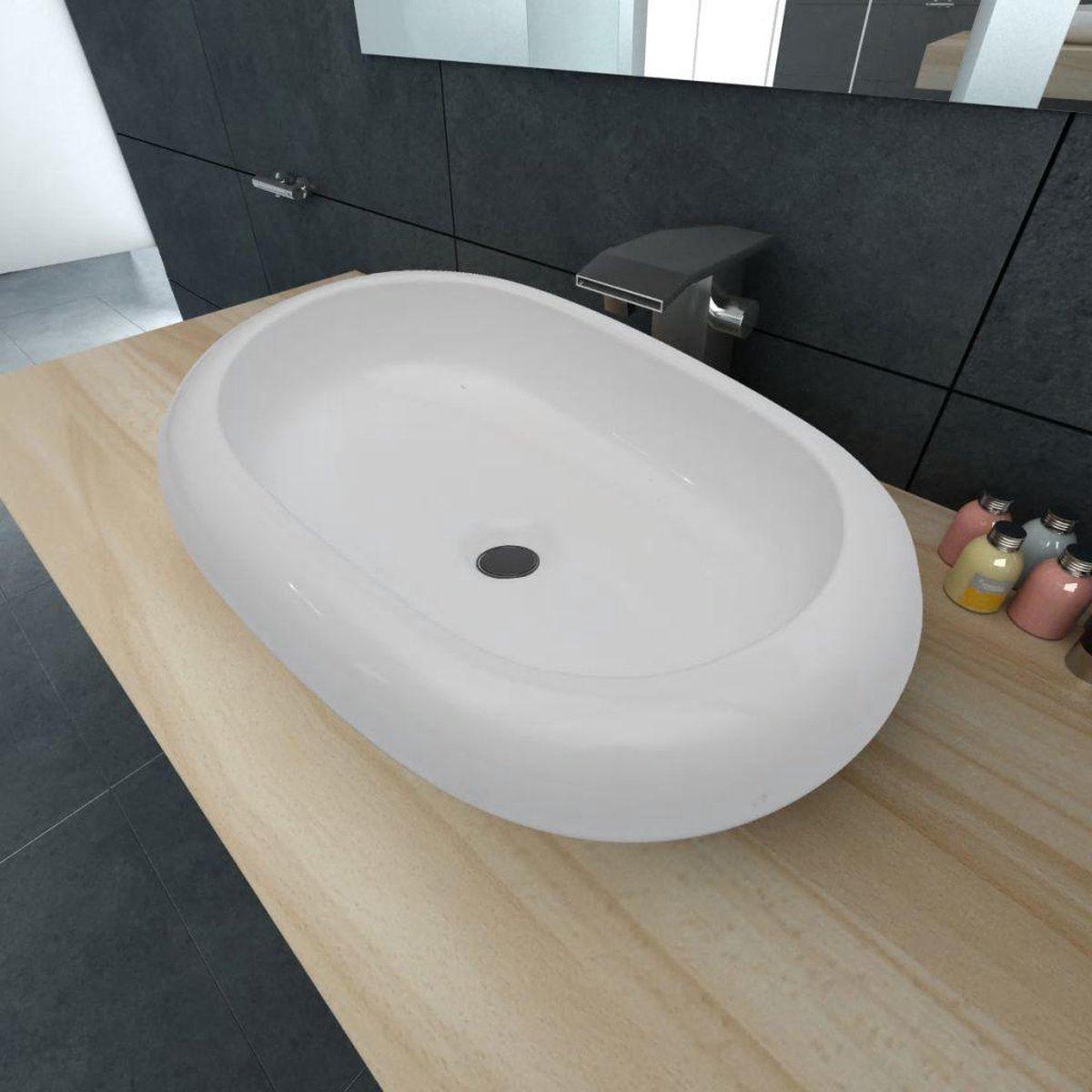 vidaXL Luxe keramische wasbak ovaal 63 x 42 cm (wit)