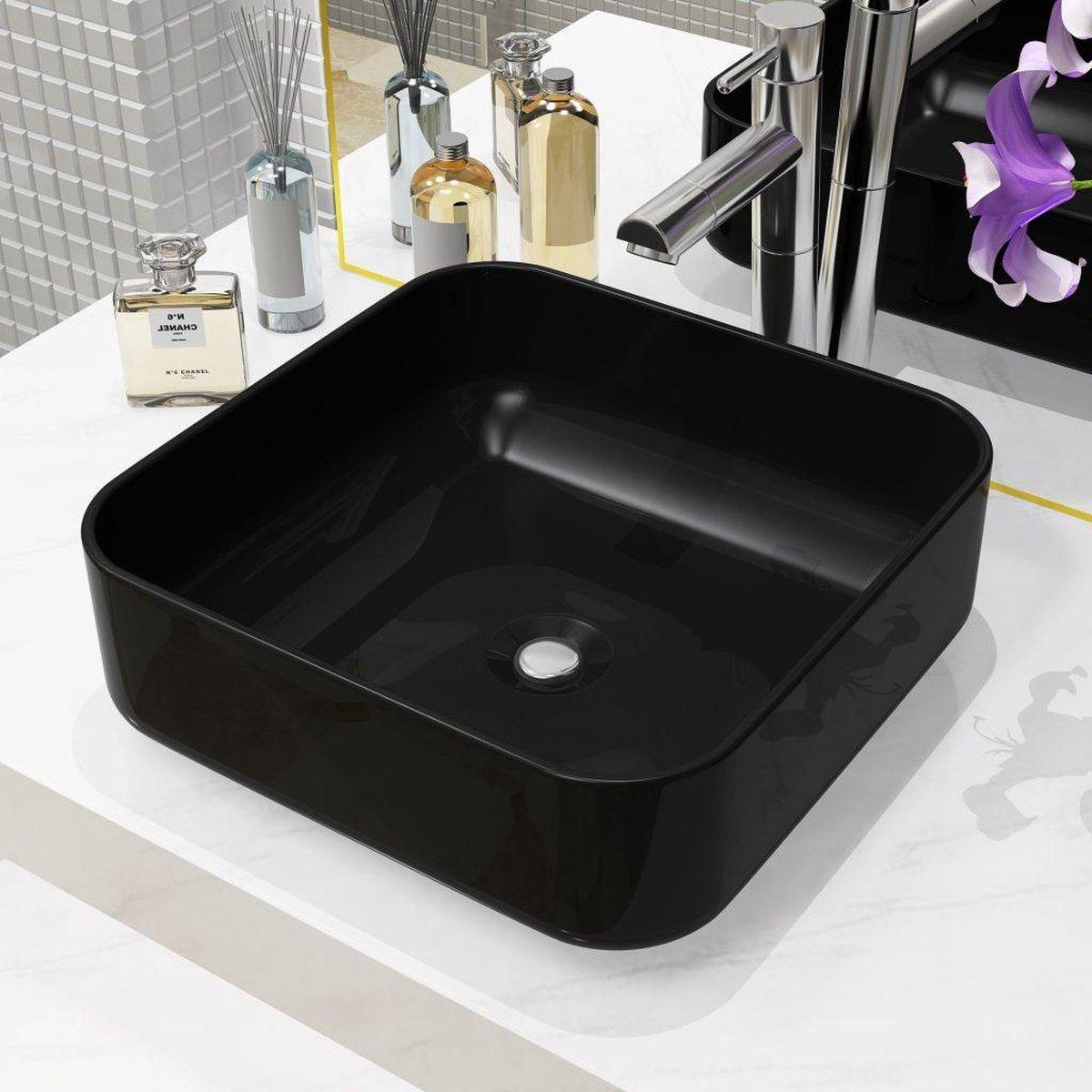 vidaXL Wastafel vierkant 38x38x13,5 cm keramiek zwart