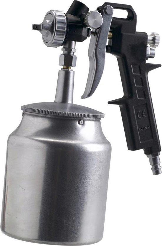 FERM Verfpistool met onderbeker – Pneumatisch - 750cc – Max. 6 bar – Instelbare spraytoevoer