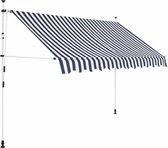 vidaXL Luifel handmatig uitschuifbaar 250 cm blauw en witte strepen