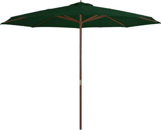 vidaXL Tuinparasol met houten paal 350 cm groen